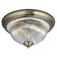Searchlight 4370 American Diner IP44 Antique Brass Flush Fitting Clear Glass