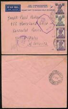 India HM FORZE stationery 1943 polacco campo post in Palestina per USA..2 censori