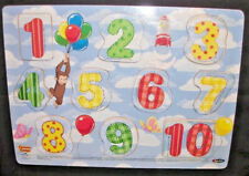 Curious George Count To Ten Wooden Tray Puzzle Wood Teach/Learn Numbers Rose Art