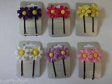 Daisy Fabric Flower Kirby Clip x2 Hair Clips Slide Grips Wedding Prom   (245)