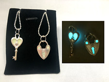Lock and Key Best Friend Couple Set GLOW IN THE DARK Pendant Charm Necklaces