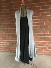 Metalicus, super soft grey knitted open drape vest, medium size 2