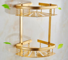 Gold Shower Caddy Double Tiers Aluminum Alloy Corner Bathroom Organizer Storage