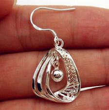 Women Fashion Jewelry 925 Sterling Silver Plated Bell Hoop Bead Dangle Earrings
