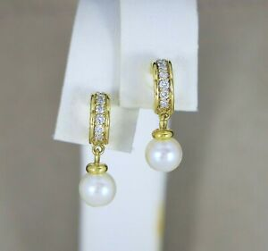 $2,500 David Yurman 18K Yellow Gold Round Diamonds Pearl Dangling Cable Earrings