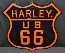 """Ande Rooney Harley Davidson Route US 66 Embossed Tin  16"""" X 16"""" Garage Sign NEW"""