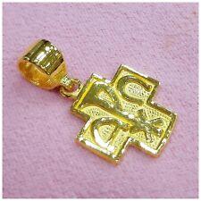 24k Solid Gold Alpha & Omega Cross Pendant by estherleejewel