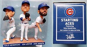 2017 Chicago Cubs Baseball  Arrieta Hendricks Lester STARTING ACES BOBBLEHEAD tb