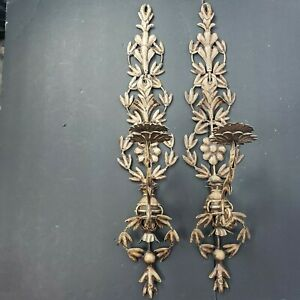 Pair Of Metal Tole Floral Wall Sconce Candle Holders Brown 28""