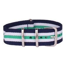 Fabric 20mm Green Purple Stripe Nato Nylon Watch Strap Wristwatch Band Buckle