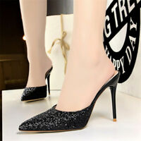 Women's Sequins Mules High Heels Pumps Party Pointed Toe Stilettos Party Shoes