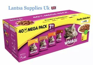 Whiskas 7 Plus Cat 🐈 Food Poultry Selection in Jelly Pouches 40 x 100g)