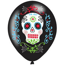6 x Halloween Day of Dead Balloons Black Party Balloon Decoration Sugar Skull