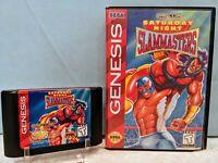 Saturday Night Slam Masters (Sega Genesis, 1994) with Case - Tested & Working