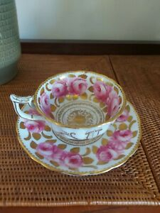 Antique Royal Chelsea Hand Painted Pink & Gold Gilt Teacup & Saucer Old Repair