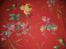 Antique 19th French Botanical Floral Roses Wheat Cotton Fabric ~ Red Yellow