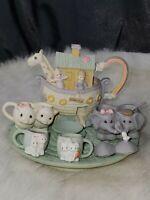 Precious Moments 1996 Noah's Ark Miniature Tea Set resin adorable complete set
