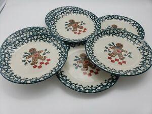 7 Folk Craft Gingerbread Man Christmas Dinner Salad Plates Plates 7.5