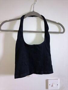 Urban Outfitters Black Ribbed Halterneck Bralette Crop Top Size Large
