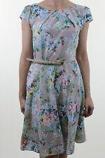 WALLIS beige ditsy floral print silk feel skater tea dress with belt size 10 38