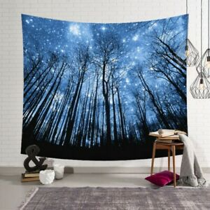 59*51inch Wood Forest Stars Tapestry Home Wall Hanging Hippie Throw Bedspread