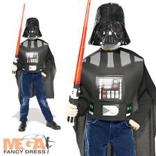 Boys Darth Vader Fancy Dress Star Wars Halloween Kids Costume + Lightsaber 5-9 Y