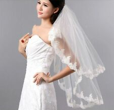 New 2T Ivory Fingertip Bridal Wedding Veil Lace Applique Edge with Comb LY01