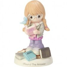 * Precious Moments Figurine Girl Reading Holy Bible Porcelain Statue Blue Bird