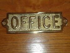 OFFICE Brass Sign  Hand Casted Ingot  Door Plaque Made In England