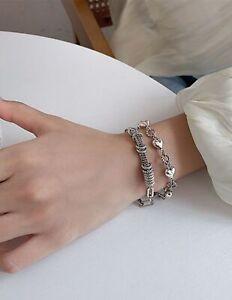 "silver heart chains bracelet lobster catch large 8- 10"" long boho bangle"
