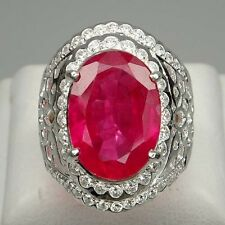 TEMPTING! RED RUBY 8.75CT. & WHITE SAPPHIRE STERLING 925 SILVER RING SIZE 6.75