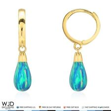 14K Yellow Gold Pear Shaped Blue Green Fire Opal Leverback Dangle Earrings 1""