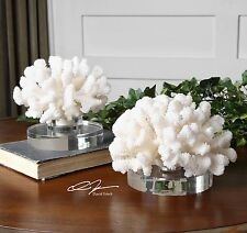 TWO COASTAL BEACH CORAL INSPIRED CENTERPIECE DISPLAY SCULPTURES CRYSTAL BASE