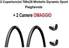 2 Copertoncini 700x25 Michelin Dynamic Sport Bici Corsa Strada Pieghevole Gomme