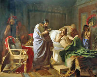Alexander The Great Trusts In Doctors Medicine Painting Real Canvas Art Print