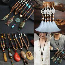 Handmade Retro Nepal Buddhist Mala Bead Horn Fish Long Tassel Pendant Necklace