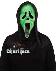 Fluorescent Green Ghost Face Scream™ Mask Adults Halloween Fancy Dress