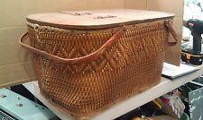 8Pp38 Picnic Basket, Steel Handles, Wicker Body, Plywood Top, Hardboard Bottom