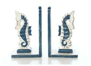FAIRTRADE BLUE AND WHITE  WOODEN SEAHORSE  BOOK ENDS 20 CM HIGH FREE POSTAGED