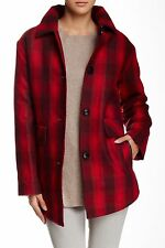 Pendleton Wool Blend Shirting Red Faded Tartan Plaid Coat Size Medium NWT $375