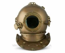 "Vintage Antique Diving Helmet 18"" US Navy Mark V Anchor Engineering 1921 Scuba"