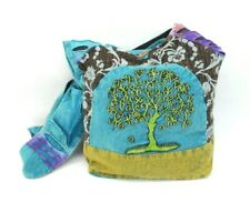 Tree Heart Purse Hobo Tote Sling Blue Stonewash Embroidered Boho Shoulder Bag