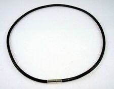 """17"""" Black Surfer 4mm Round Leather Choker Necklace Cool Men's"""