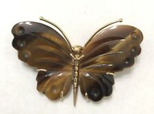 Tiger's Eye Butterfly Pin/Brooch 14k Solid Yellow Gold Carved