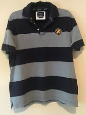 Hackett London Men's Large Slim Tailored Fit Polo Shirt Cotton Blue Grey Stripe