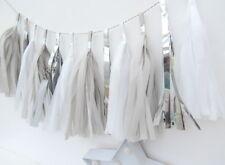 Silver, Grey & White Tassel Garland. First Birthday, Traditional Christening Dec