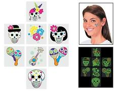 Glow-in-the-Dark Day of the Dead Tattoos (72 Pieces)