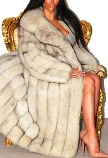 Lush pleine longueur Saga Blue Shadow renard véritable manteau de fourrure blanc longue veste Deluxe!