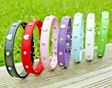 Dog Collar Studded Puppy PU Leather Tiny XS Small Pet Black Pink Male Female