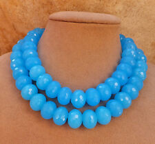 VIVID BLUE TURQUOISE CHALCEDONY FAT JUMBO FACETED BIG GEMSTONE 2strand NECKLACE